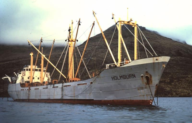 MV Holmburn, anchored at Campbell Island