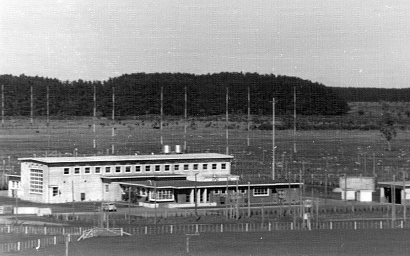 Himatangi Radio, seen from the top of a 90-foot mast. Date unknown.