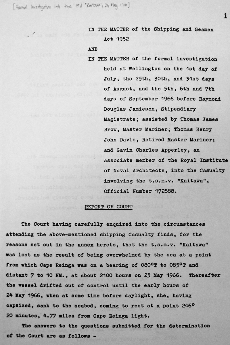 Official inquiry into the loss of MV Kaitawa in 1966