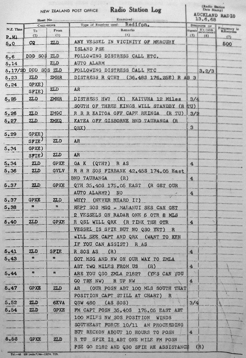 Auckland Radio ZLD radiotelegraph log, 13 June 1938