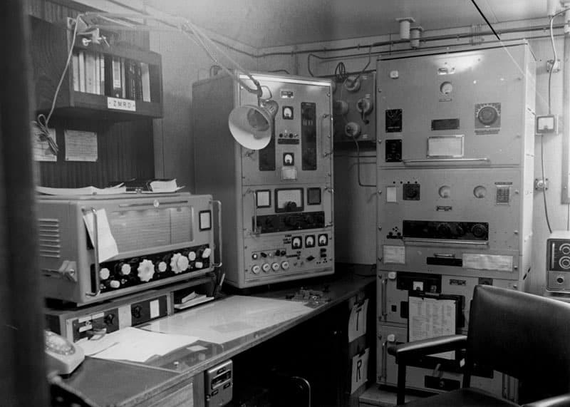 Radio room of Aramoana, July 1977