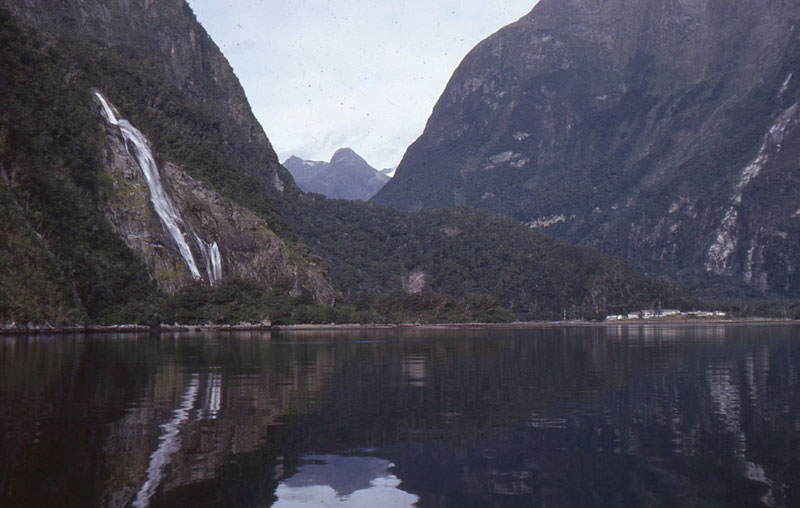 Milford Sound in 1980, with Milford Sound Radio ZMV visible in the distance
