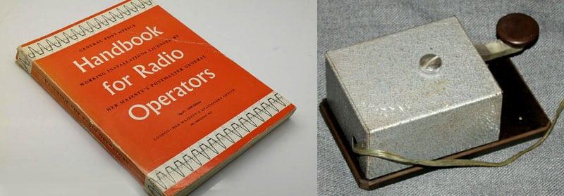 Handbook for radio operators and Marconi 365FZ key