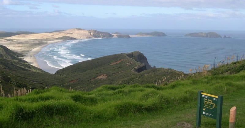 Cape Maria van Diemen and Motuopao Island, seen from the carpark near Cape Reinga