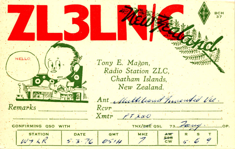 ZLC radio operator Tony Magon was also a radio amateur. In 1976 he sent this QSL card to another radio ham in the USA.