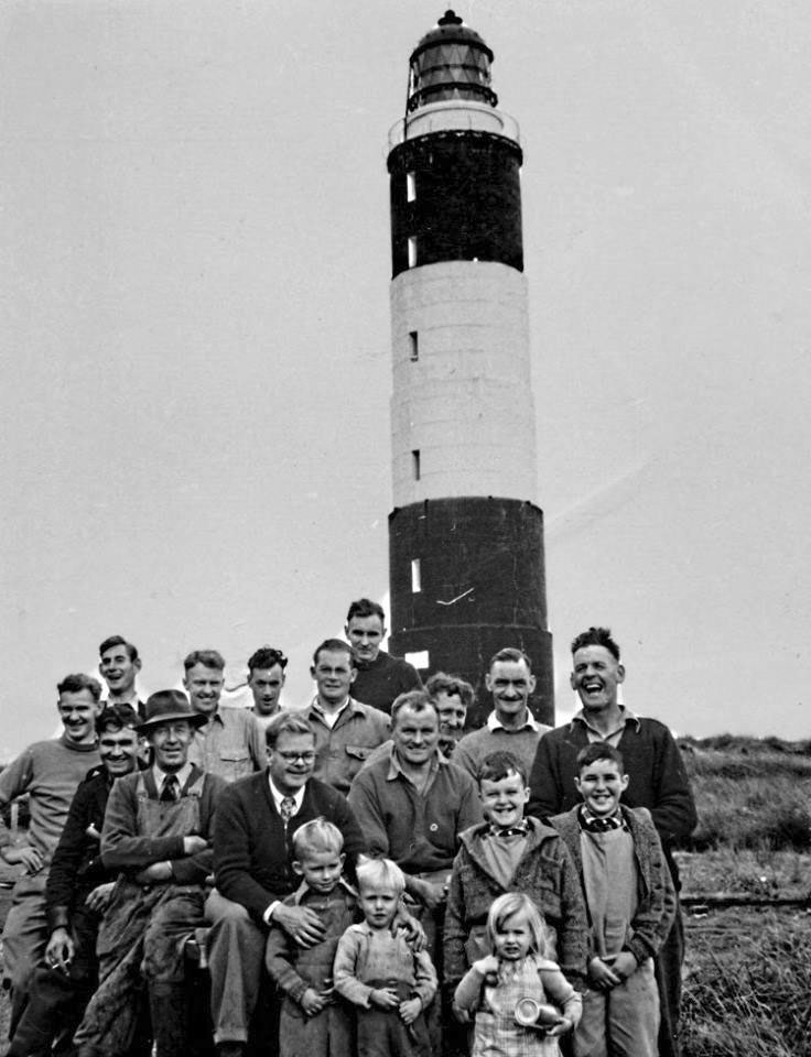 Technical staff from Awarua Radio visiting Dog Island in the 1950s